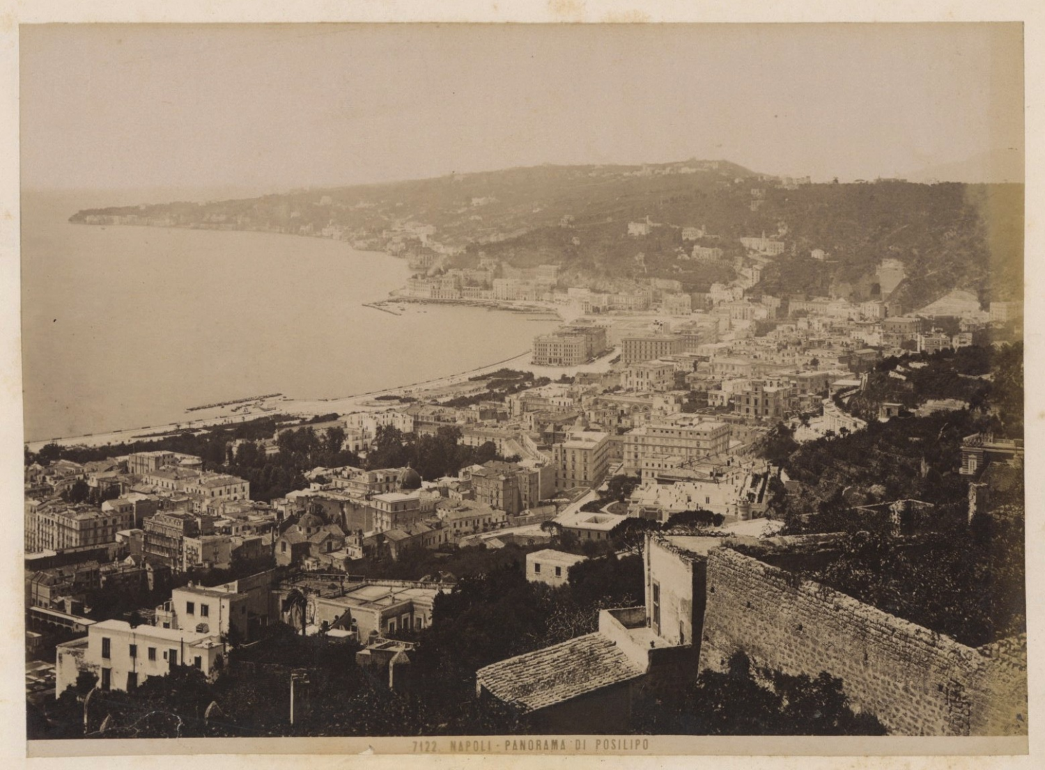 italia napoli panorama di posilipo vintage albumen print. Black Bedroom Furniture Sets. Home Design Ideas