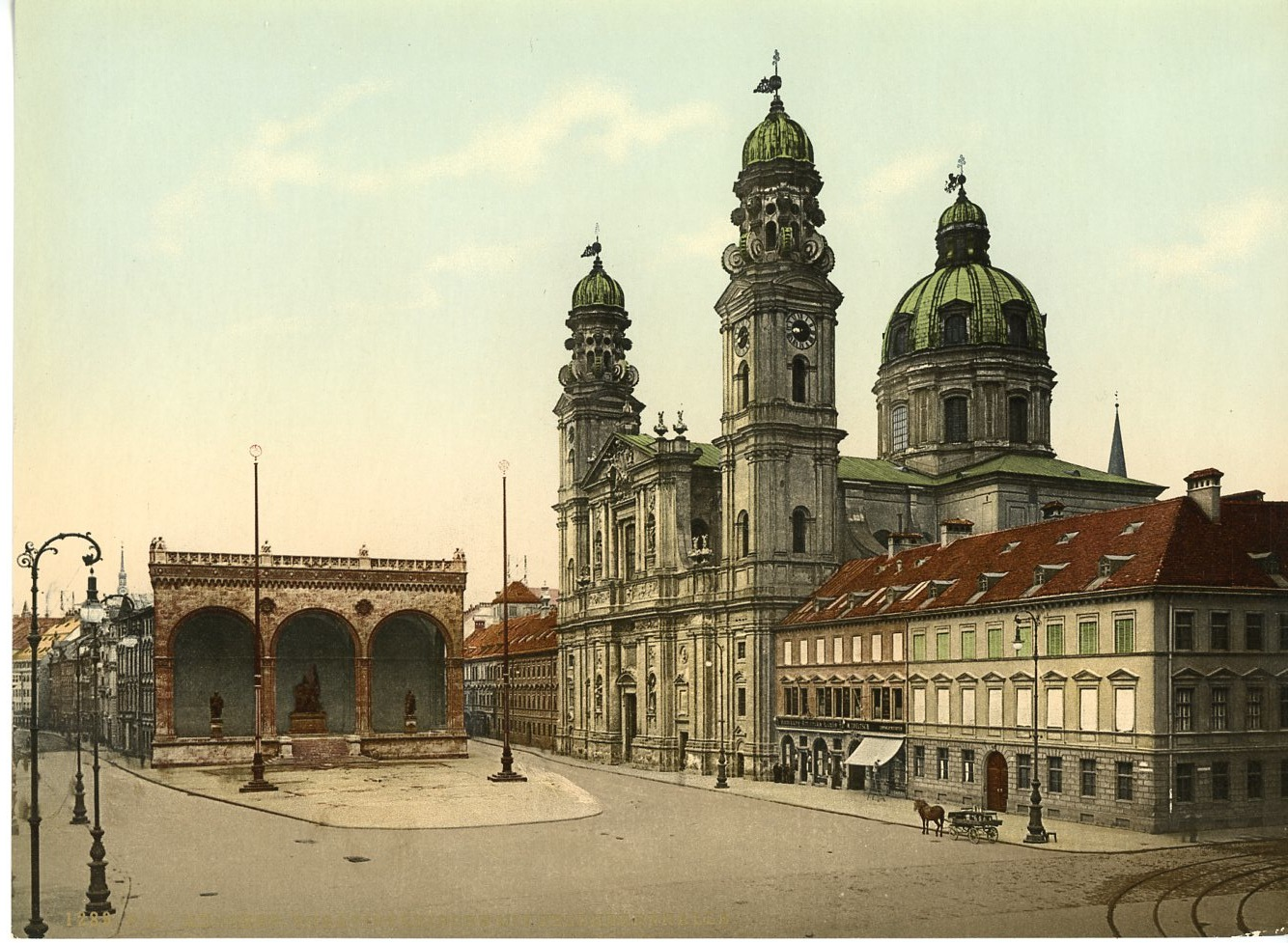 m nchen theatinerkirche mit feldhernhalle pz vintage photochromie photochro ebay. Black Bedroom Furniture Sets. Home Design Ideas