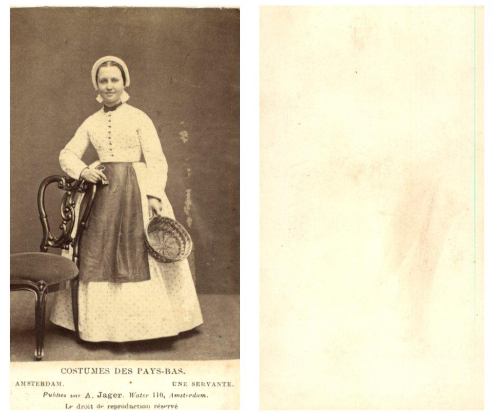 jager, pays-bas une femme en habits de servante cdv vintage