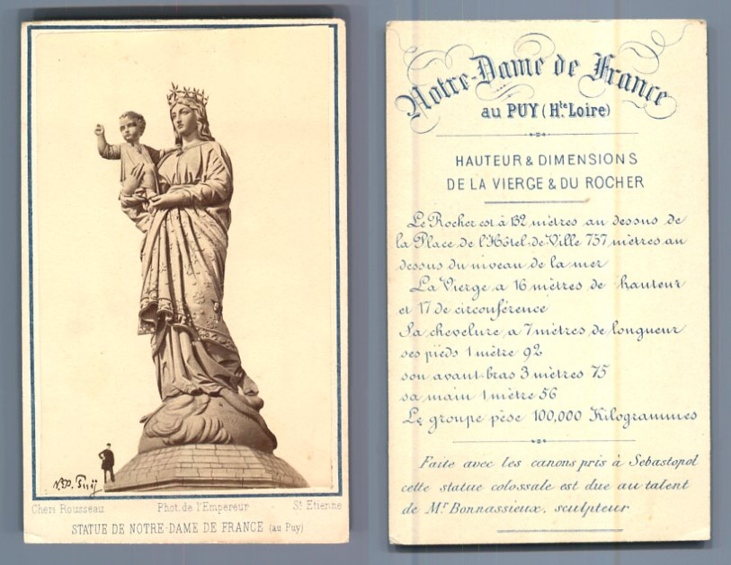 C. Rousseau, France La statue de Notre-Dame de France Vintage carte ...