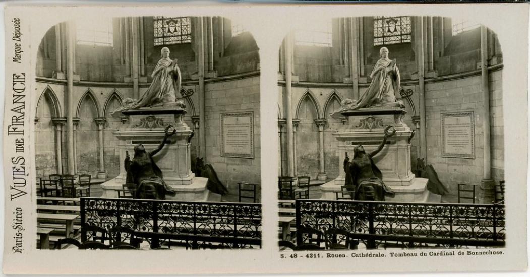 STEREO-France-Rouen-Cathedrale-Tombeau-du-Cardinal-de-Bonnechose-Vintage-print