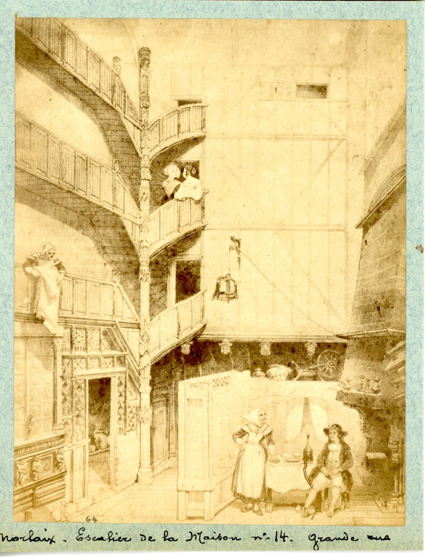 Escalier Dans La Maison détails sur france, morlaix, la grande rue, escalier de la maison au numéro  14 vintage albu
