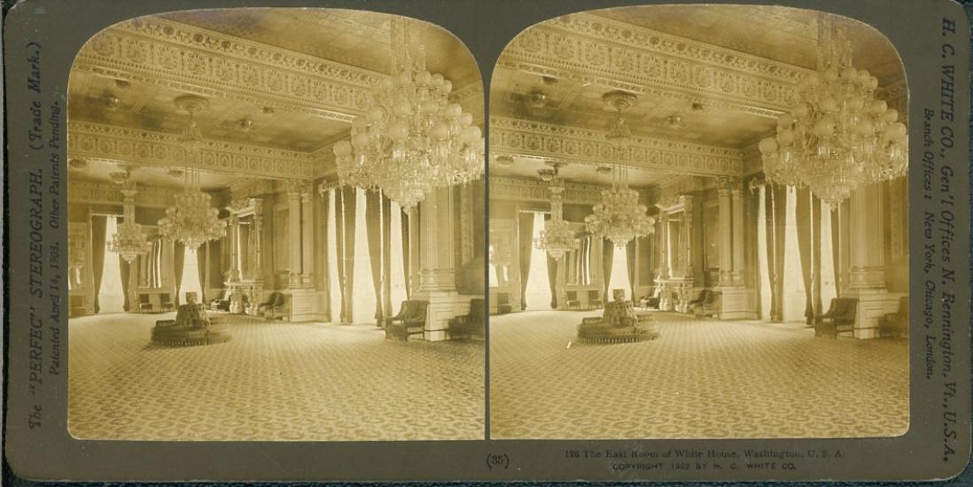 Stereo Etats Unis Washington La Maison Blanche Interieur Vintage
